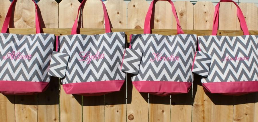 Hochzeit - SALE - 10% off - Beach Bags, 4 Bridesmaid Gifts, Gray Chevron Tote Bags, Personalized Bags