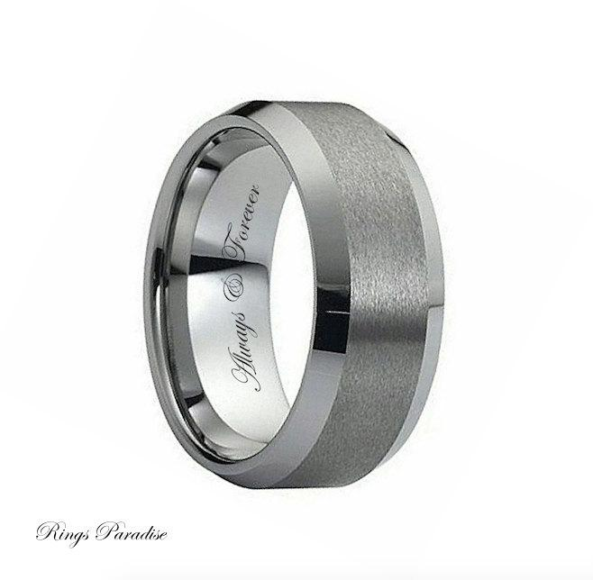Свадьба - Tungsten Wedding Band, Engagement Ring, Tungsten Carbide Band, Promise Ring, Men's Band Tungsten, Tungsten Ring, Mens Promise Ring Engraved