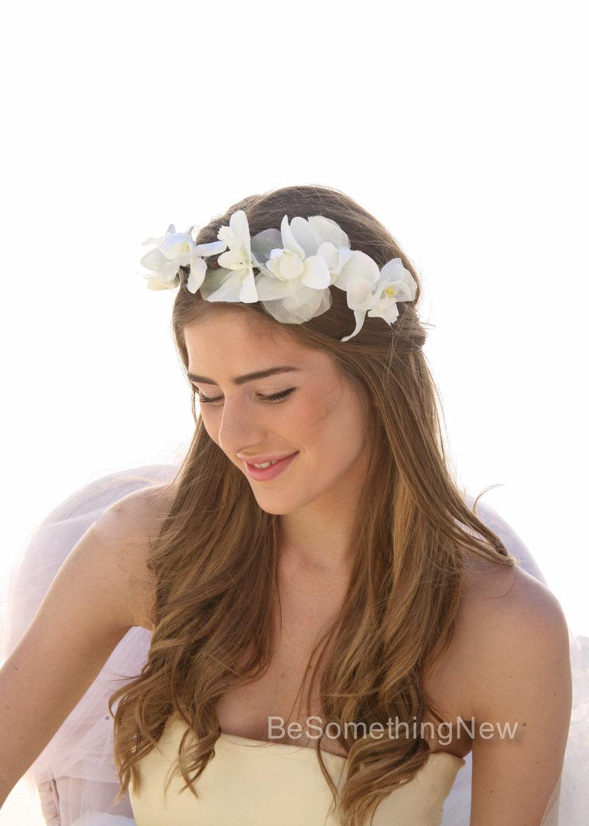 Mariage - Wedding Floral Wreath of Silk Orchids, Destination Weddings, Garden Boho Bohemian Weddings, Wedding Flower Crown, Woodland Wedding Wreath