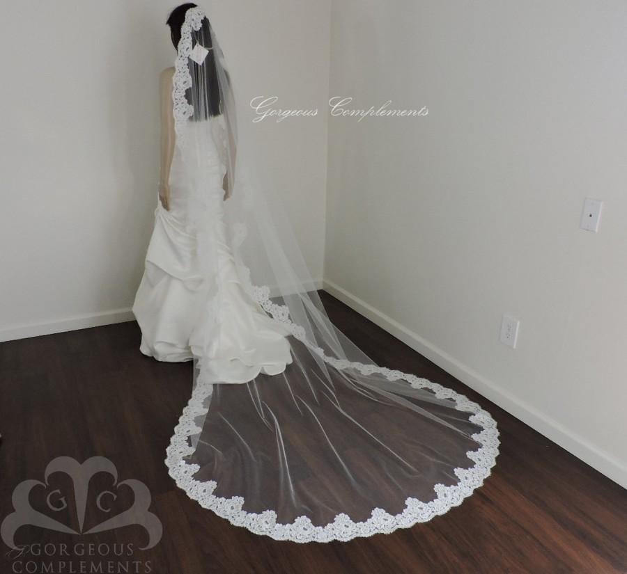 Mariage - SALE! Ready to Ship White Cathedral Bridal Veil with French Alencon Lace