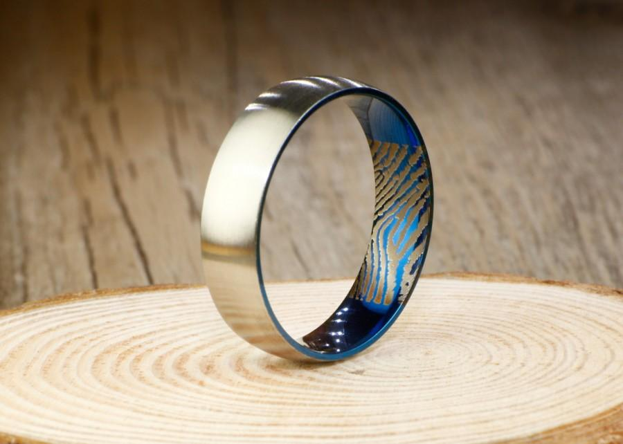 Свадьба - Your Actual Finger Print Rings, Handmade Blue Matte Finger Print Ring, Wedding Band, Men Ring, Couple Ring, Titanium Ring, Promise Ring