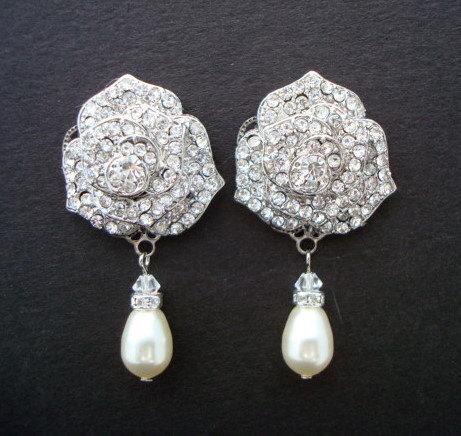 زفاف - Bridal Earrings,Ivory or White Pearls,Pearl Rhinestone Earrings, Bridal Rhinestone Earrings,Statement Bridal Earrings, Stud, Pearl,ROSIE