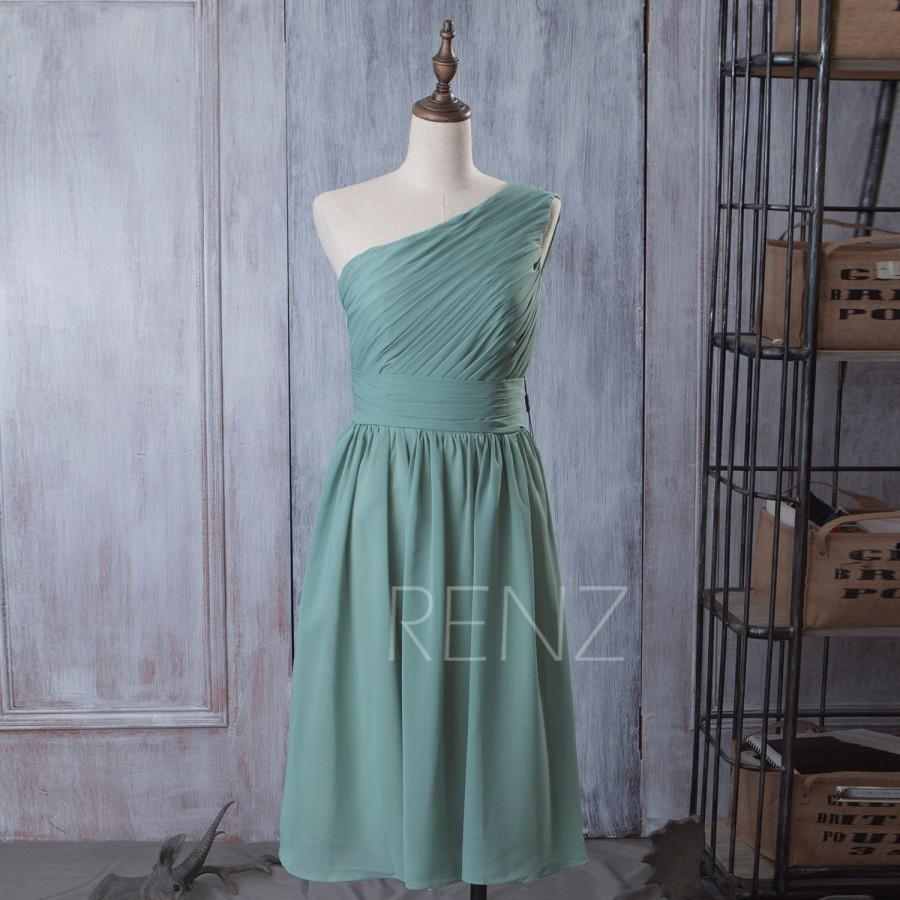 Свадьба - 2015 Dusty Blue Bridesmaid dress Teal, A line Formal dress One Shoulder, Short Chiffon Wedding dress, Prom Party dress floor length (B083C)