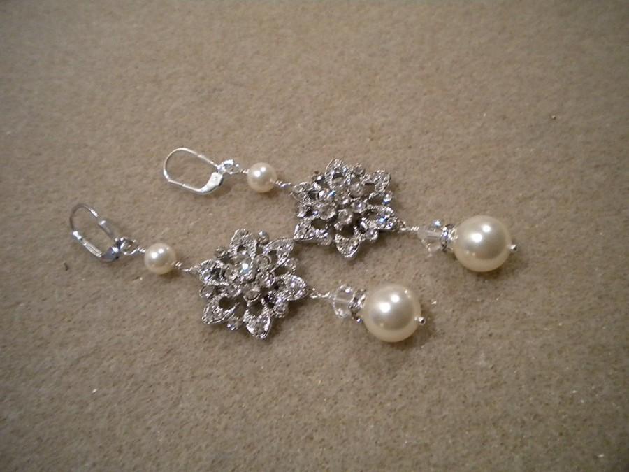 زفاف - Long earrings, Rhinestone and Pearl Earrings, Swarovski Pearls, Wedding Earrings, JOANNA