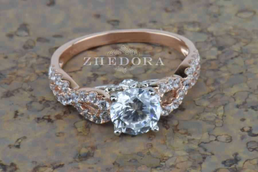 Wedding - 1.40 CT Round Cut Halo Engagement Ring Bridal Band Solid 14k White/Rose Gold, Unique Wedding Ring, Anniversary Ring Lab Created Diamond