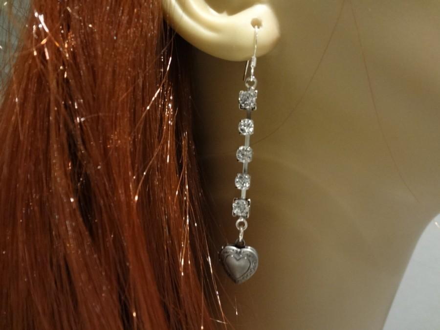 زفاف - Locket Earrings Rhinestone Earrings Long Heart Locket Earrings Silver Locket Keepsake