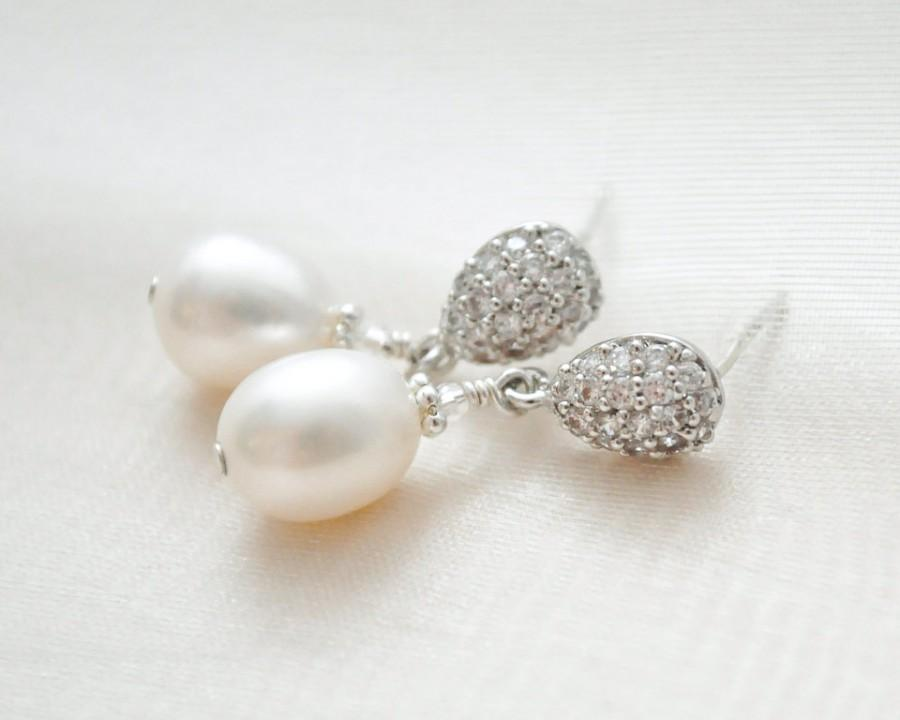 Freshwater Pearl Bridal Earrings Wedding Drop Jewellery
