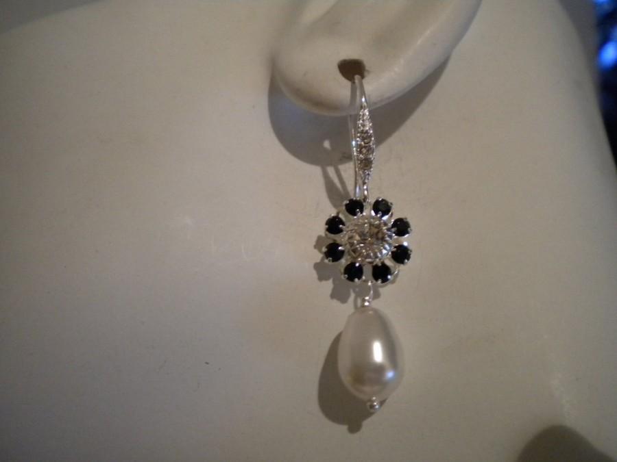 زفاف - Bridal Pearl Earrings, Vintage Style Crystal and Pearl Earrings, Rhinestone Bridal Earrings, Art Deco Black and White Pearl Earrings