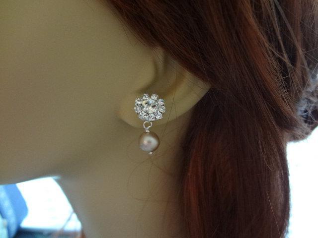 Wedding - Pearl Bridal Earrings Vintage Style Pearl Weddings Accessories Rhinestone Earrings Art Deco Pearl Earrings