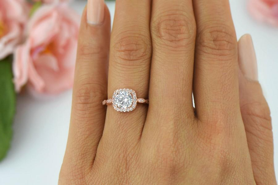 Свадьба - 1.25 ctw Halo Engagement Ring, Man Made Diamond Simulants, Art Deco Wedding Ring, Promise Ring, Sterling Silver, Rose Gold Plated