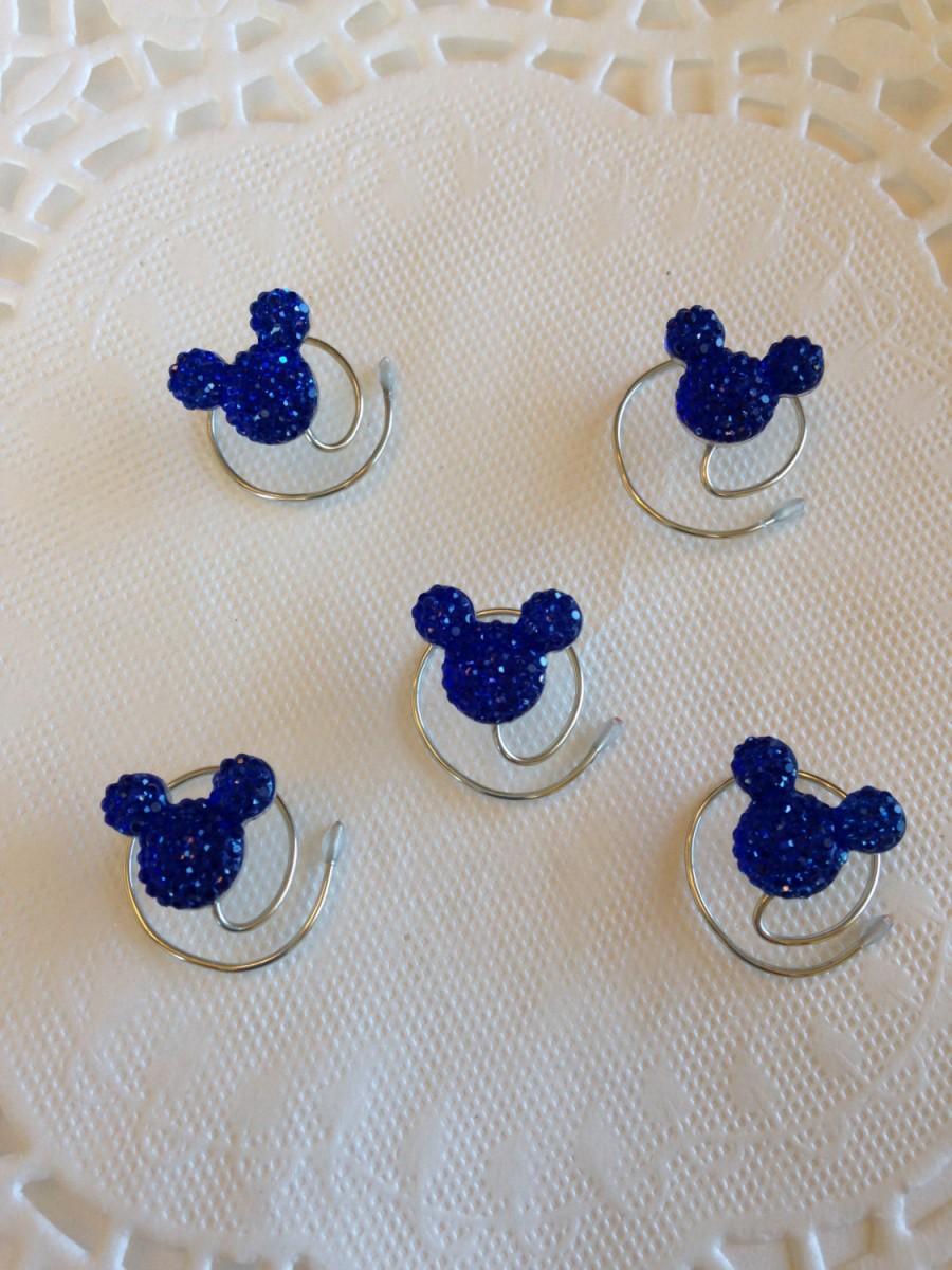 Свадьба - MOUSE EARS Hair Swirls for Themed Wedding in Dazzling Royal Blue Acrylic