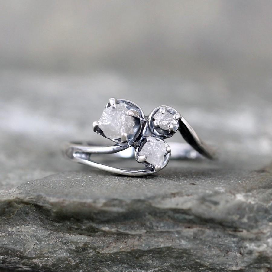 bohemian inspirational stone ring engagement diamond rings wedding of raw quartz herkimer