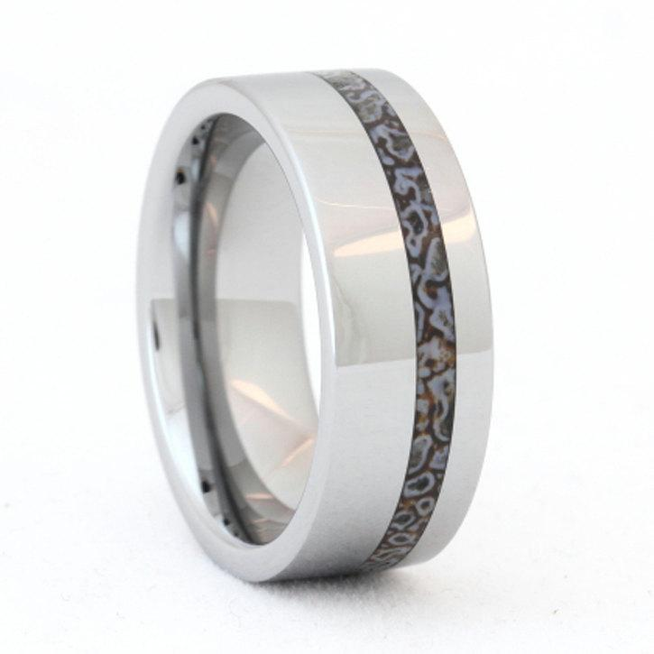 Unique Men S Wedding Bands: Tungsten Ring, Dinosaur Bone Ring, Unique Mens Wedding