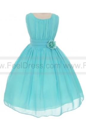 Wedding - Ball Gown Wrinkled Chiffon Special Knee-length Flowers Girls Dresses