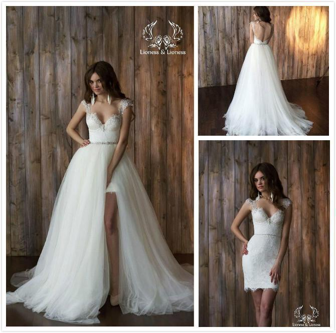 2016 Two Piece Overskirts Wedding Dresses Thigh-High Slits ...