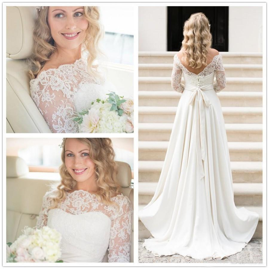 A Line Wedding Dress Actual Picture 2016 Lace Bohemian Wedding Gowns