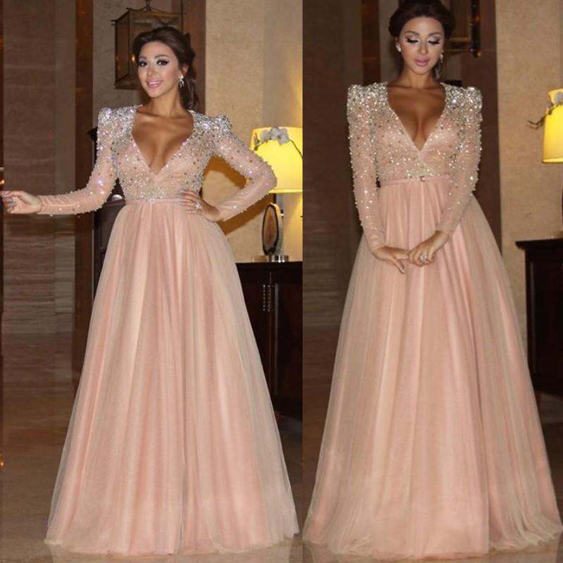 Myriam Fares 2016 Formal Evening Dresses Long Sleeves Champagne V ...