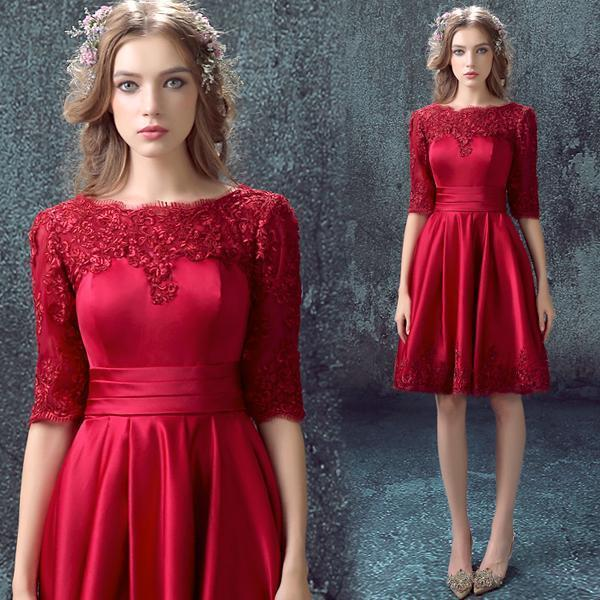 Lace 2016 Evening Dresses With Half Sleeveless Dark Red Burgundy