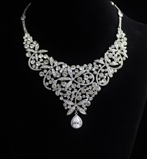 Свадьба - Statement Bridal Necklace, Crystal Bridal Bib Wedding Necklace, Wedding Jewelry, Crystal Bridal Necklace, PENNY