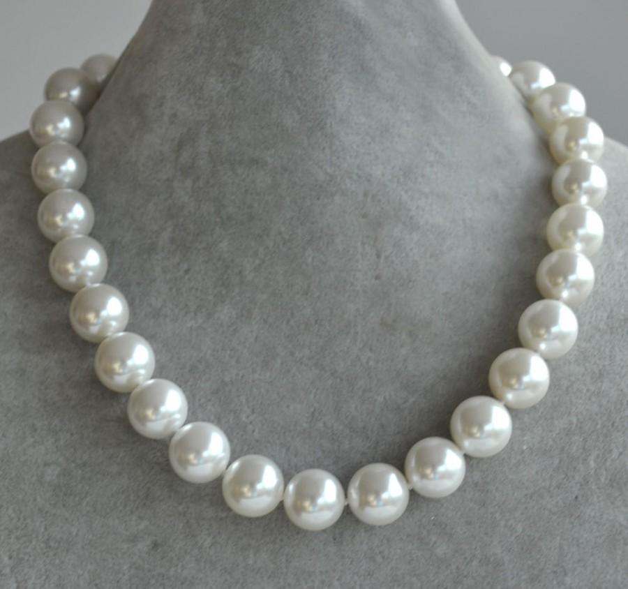5dda2b362fa90 Huge Pearl Necklace,14mm Glass Pearl Necklace,single Strand Big ...