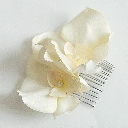 زفاف - Ivory twin Orchid flower hair comb, any occasion, wedding, bridesmaid, hairpiece