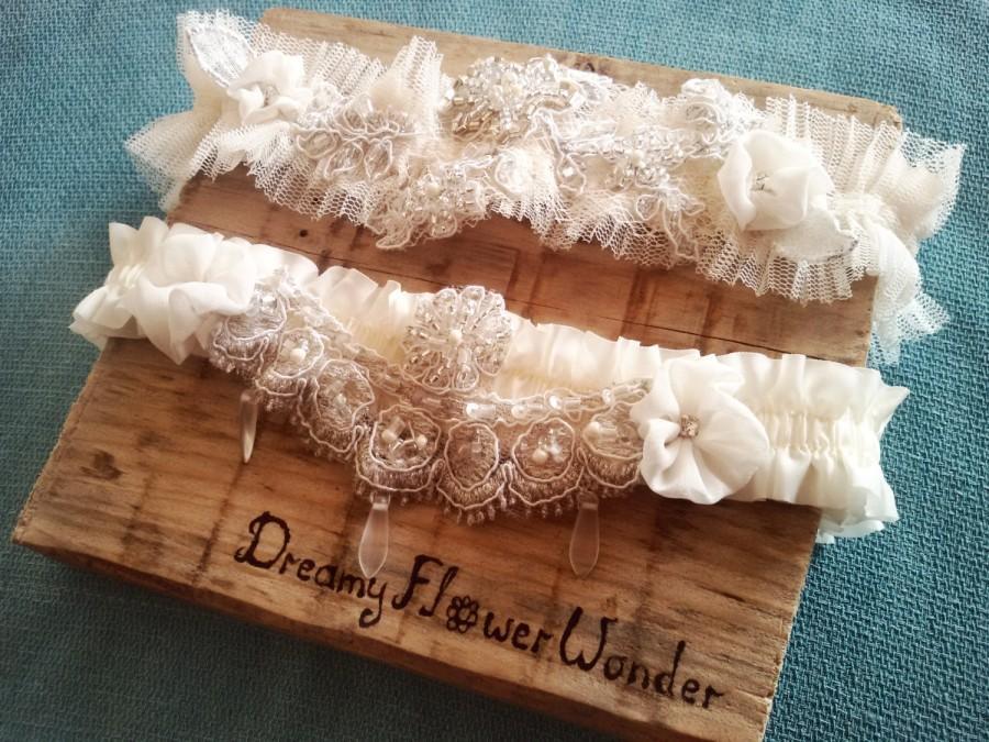 Свадьба - Ivory wedding garter set, garter set, ivory garter, white wedding garter set, blush garter, lace garter, crystal garter, bridal garter set