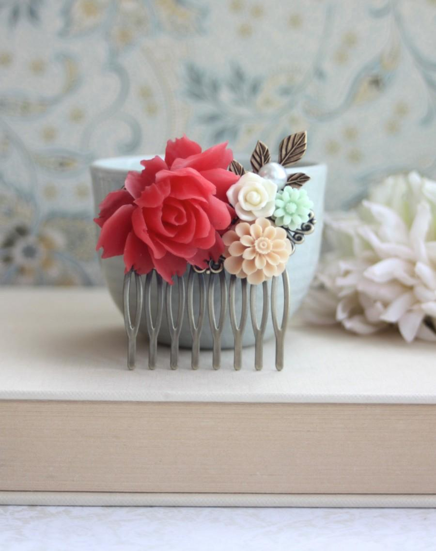 Coral Red Rose, Mint, Ivory, Vanilla Latte, Flowers, Pearl