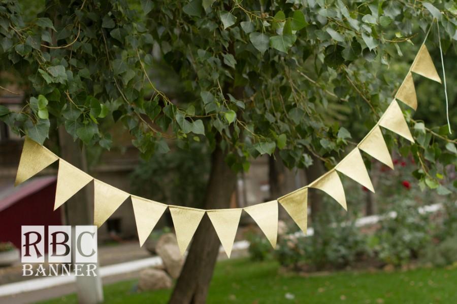 Свадьба - Gold Garland Banner, Gold Wedding  Banner, Gold Garland Birthday, Fall Wedding Banner, Gold Wedding Decor, Gold Glitter Flags