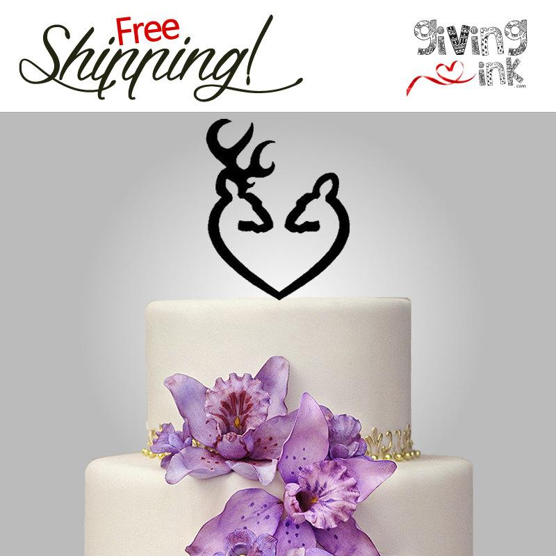 Mariage - Hunting Wedding Cake Toppers by Givingink Buck and Doe Heart - Rustic Wedding Deer Cake Toppers