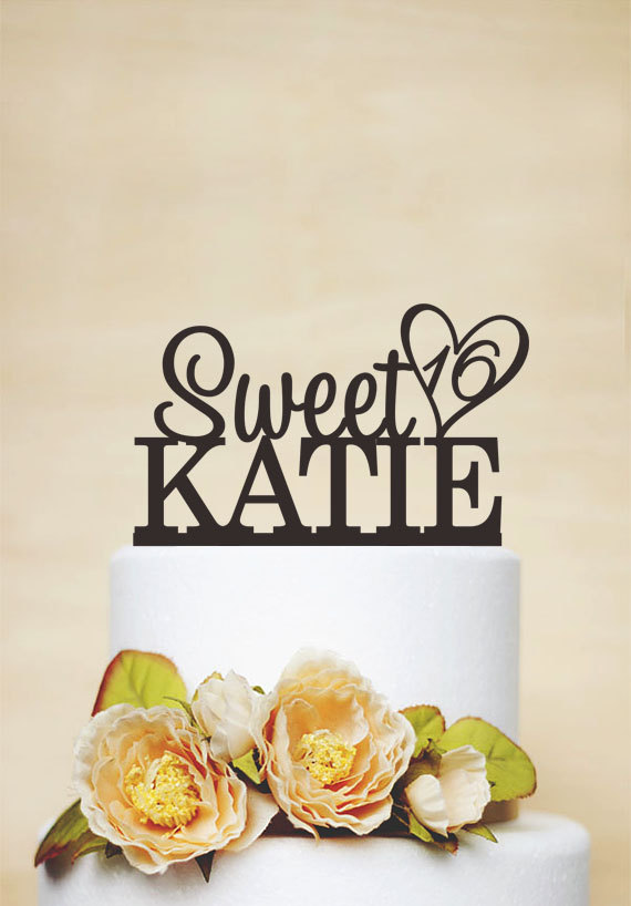 Wedding - Custom Cake Topper With Any Name And Age,Sweet 16 Cake Topper,Personalized Cake Topper,Birthday Cake Topper A041