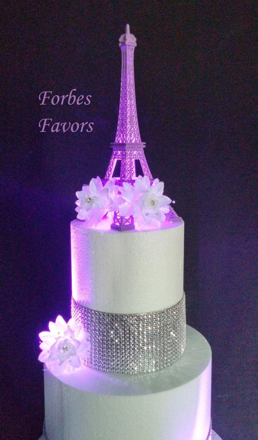 10 Inch Purple Metal Eiffel Tower Paris Theme Weding Cake Topper