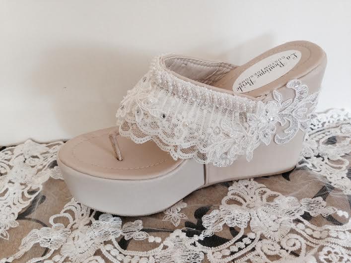 Hochzeit - Destination Beach Bride Wedge Ivory Beaded Lace Flip Flop Bride Ivory Wedge Flip Flop Wedding Wedge