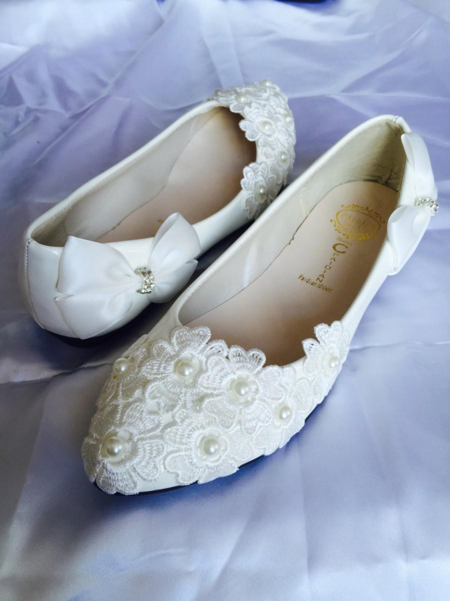 White Wedding Flats Bridal Ballet Shoes Comfortable Flat Lace Womens