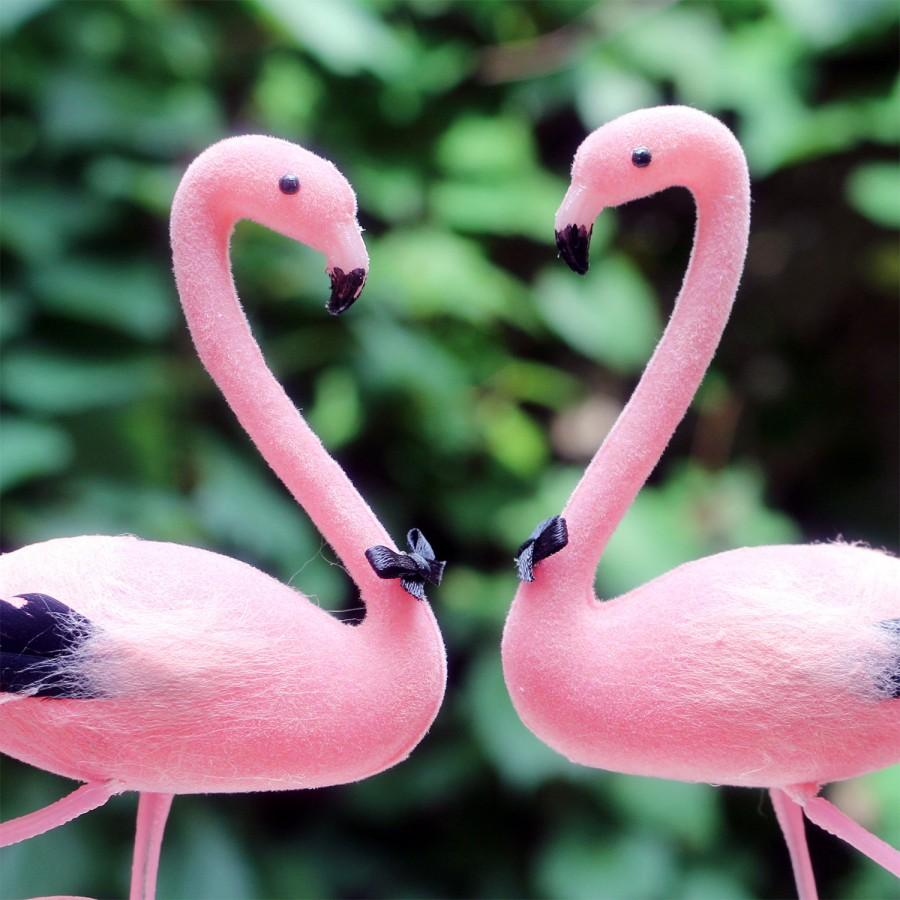 Свадьба - SALE! Pink Flamingo Wedding Cake Topper: Groom and Groom Gay Love Bird Cake Topper -- Two Grooms -- LoveNesting Cake Toppers