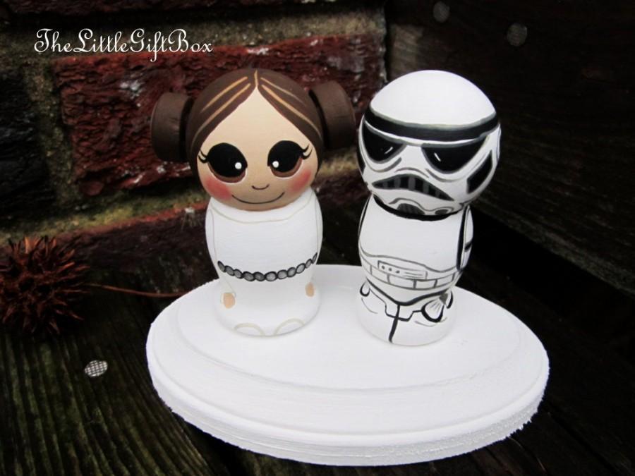 Свадьба - Intergalactic Wedding Cake Topper / Customized Wood Peg Dolls / Kokeshi Couple With Plaque