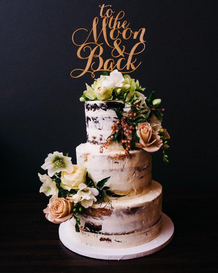To The Moon And Back Wedding Cake Topper Engagement Cake