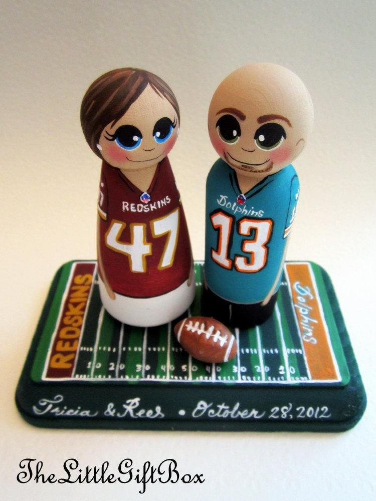 Wedding Cake Topper Custom Painted Wood Peg Dolls Football Hockey Basketball Baseball Sports Fan
