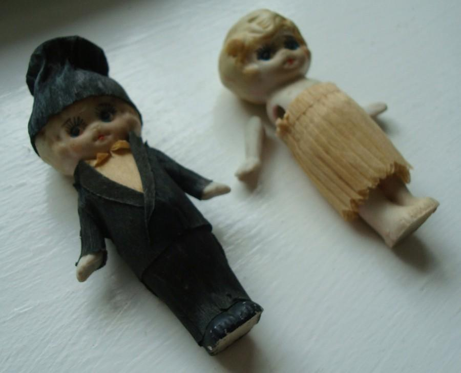 Свадьба - Vintage Bisque Bride & Groom Wedding Cake Topper Dolls - made in Japan - kewpie doll