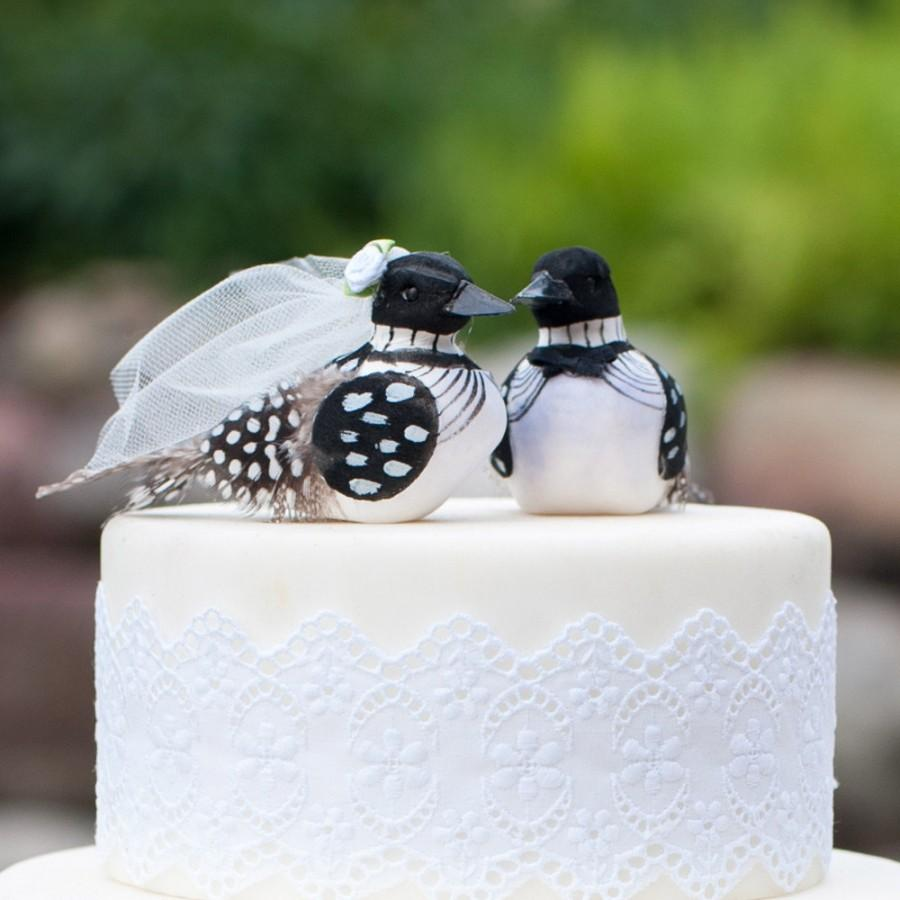 Mariage - SALE! Minnesota Loon Wedding Cake Topper: Polka Dotty Bride and Groom Love Bird Cake Topper -- LoveNesting Cake Toppers