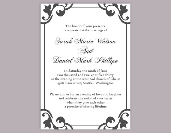 زفاف - DIY Wedding Invitation Template Editable Word File Instant Download Printable Elegant Invitation Black Wedding Invitation DIY Invitations