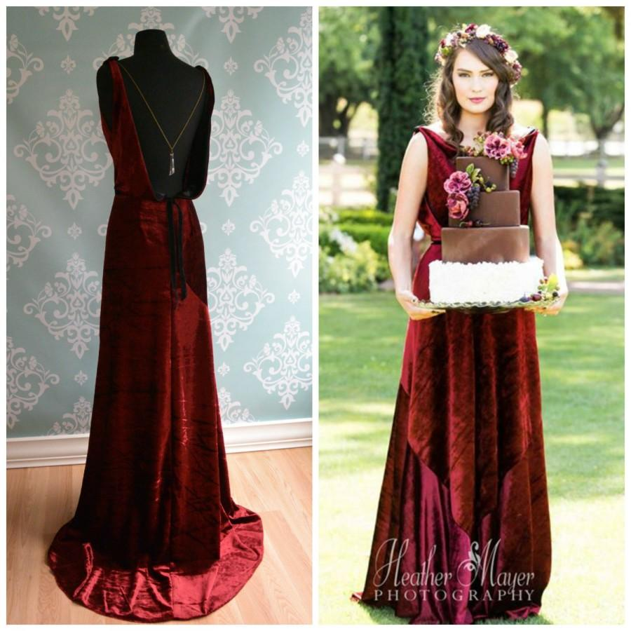 Backless Marsala Velvet Wedding Gown 1930 1920 Art Deco Vintage Inspired Sonata Unique Dress Red Alternative Colors
