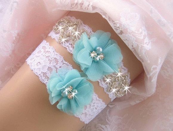 Mariage - Bridal Garter, Wedding Garter Set, aqua blue, Garter Prom Garter, Toss Garter  Ivory with Rhinestones and Pearls Custom Wedding colors