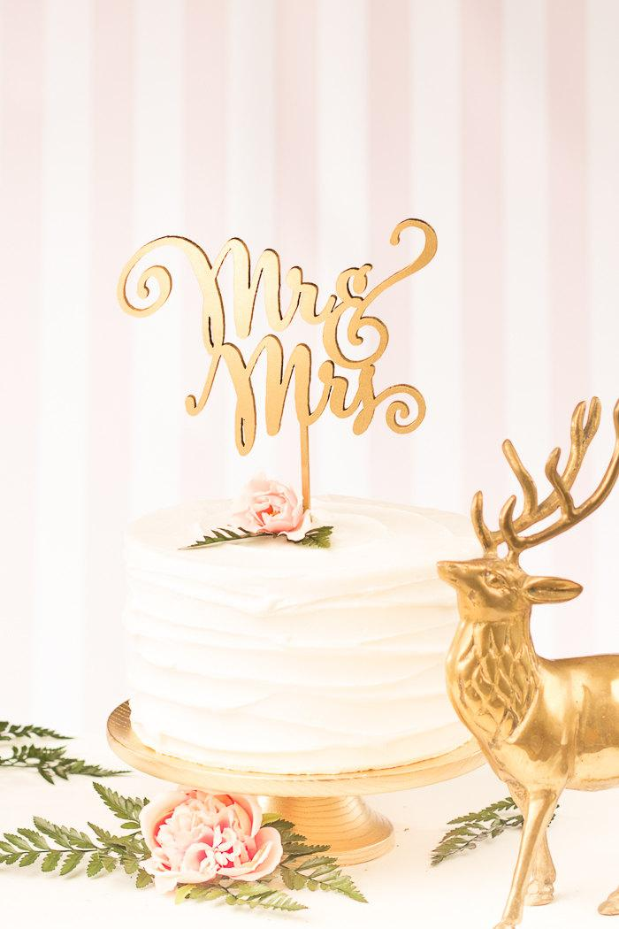 Mariage - Wedding Cake Topper - Mr and Mrs Cake Topper - Gold - Daydream Collection