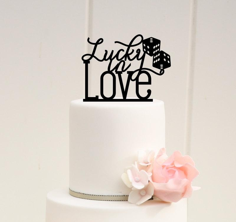 Mariage - Lucky in Love with Dice Wedding Cake Topper - Vegas Cake Topper