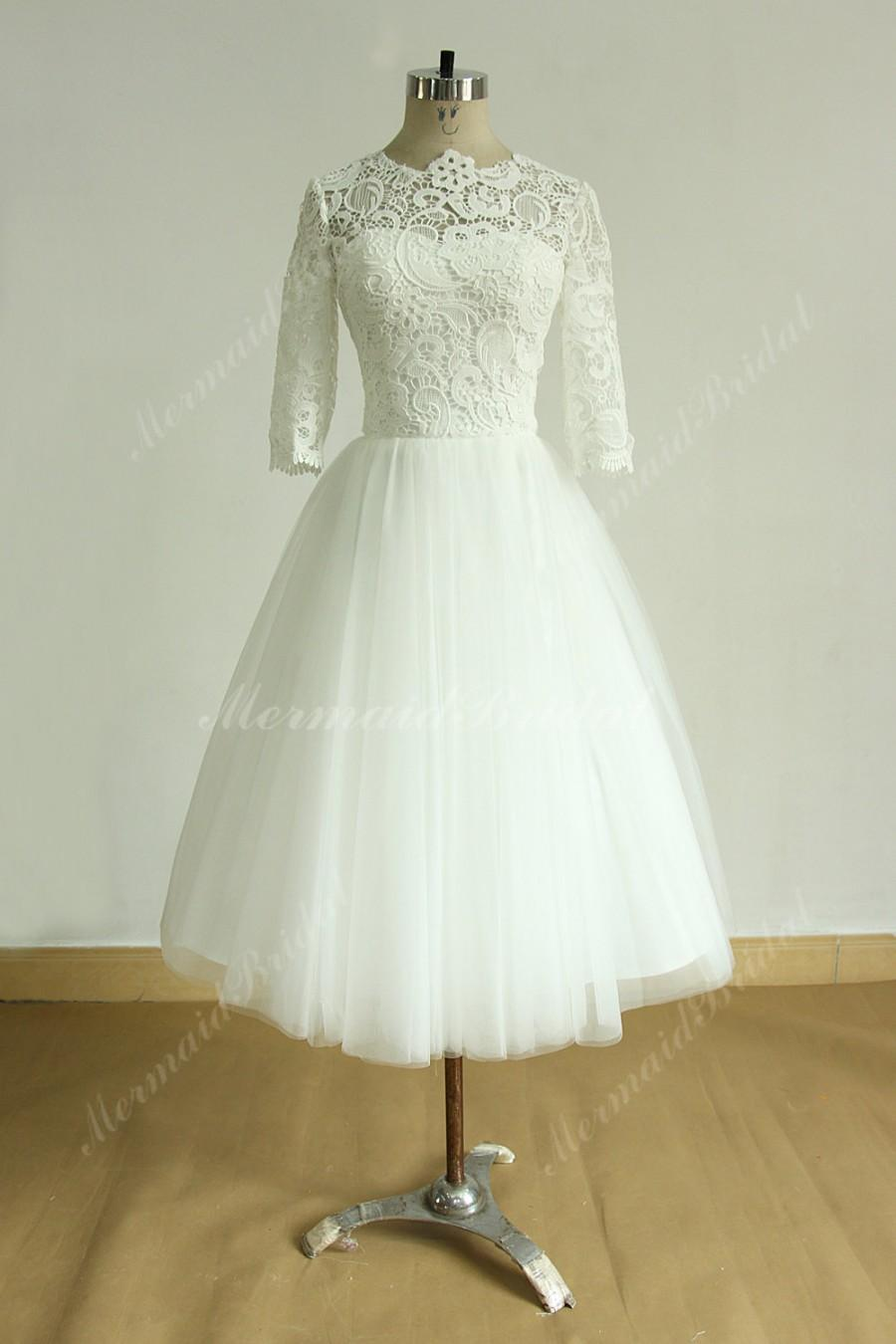 Vintage tea length ivory tulle lace wedding dress with mid for Mid length wedding dress