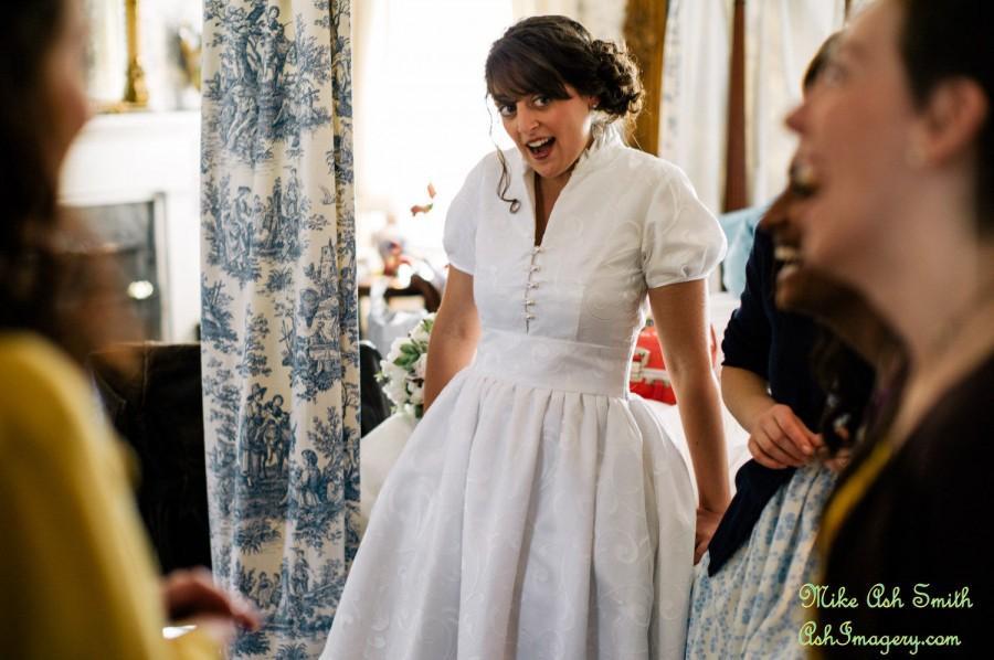 زفاف - Custom Made Wedding Gown Daphne JCrew Inspired Short Sleeves Collar Open Neckline Waistband Full Pleated Skirt Misses Plus Size Made in USA