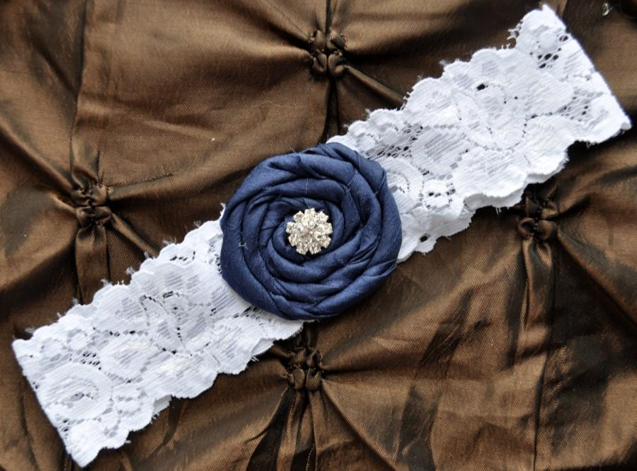 Wedding - Something Blue Wedding Garter, Bridal Garter - White Lace Garter, Toss Garter, Rolled Silk Rosette Navy Blue, Navy Wedding Garter
