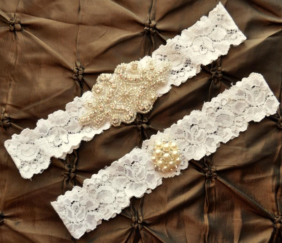Свадьба - Wedding Garter Set, Bridal Garter Set - Ivory Lace Garter, Keepsake Garter, Toss Garter, Crystal Embellishment Ivory, Ivory Wedding Garter