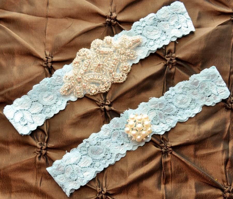 Свадьба - Wedding Garter Set, Bridal Garter Set - Blue Lace Garter, Keepsake Garter, Toss Garter, Crystal Embellishment Blue, Something Blue Garter