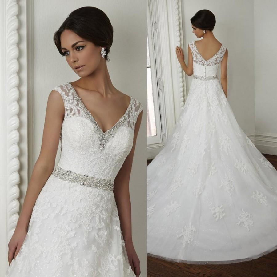 Well-Sold V Neck Sleeveless Beaded Lace Wedding Dress